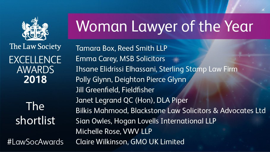 """Polly Glynn Shortlisted for Law Society Excellence """"Woman Lawyer of"""