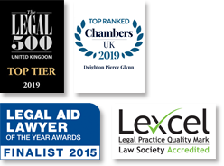 Legal 500 UK, Top Tier 2019 / Chambers UK 2019, Top Ranked / Legal Aid Lawyer of the year awards, Finalist 2015 / Lexcel Acredited