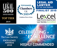 Legal 500 UK - Top Tier 2019 / Chambers UK - Top Ranked 2019 / Legal Aid Lawyer Of The Year Awards - Finalist 2015 / Lexcel Acredited / Excellence Button 2018 Highly Commended